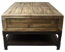 TABLE BASSE EN MÉTAL ET BOIS VIEILLI - MB80