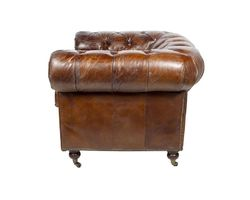 FAUTEUIL CHESTERFIELD MARRON VINTAGE - MC83