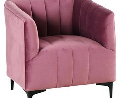 FAUTEUIL VELOURS ROSE - PILSF1ROS