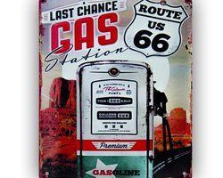 PLAQUE VINTAGE MÉTAL GAS ROUTE 66 US STATION