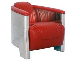 FAUTEUIL CLUB ALU CUIR ROUGE